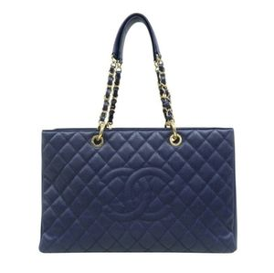 💯 Auth CHANEL Large GST Caviar Skin Navy Tote